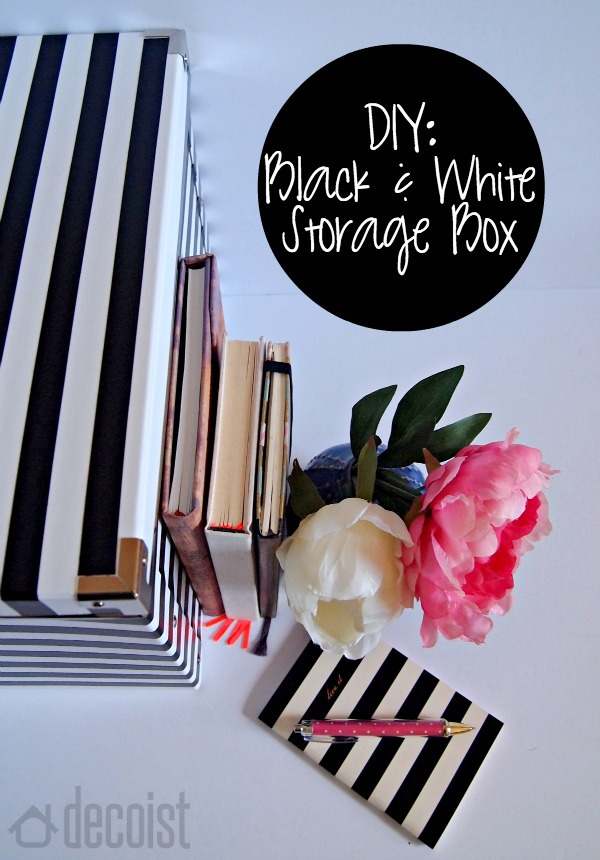 DIY Black and white storage box idea