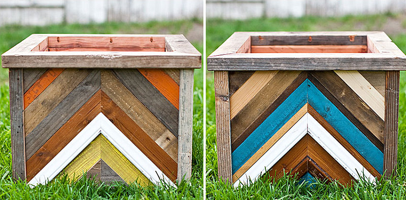 DIY chevron planter boxes
