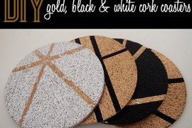 DIY Gold, Black and White Cork Coasters