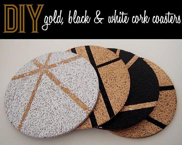 DIY Gold, Black and White Cork Coasters