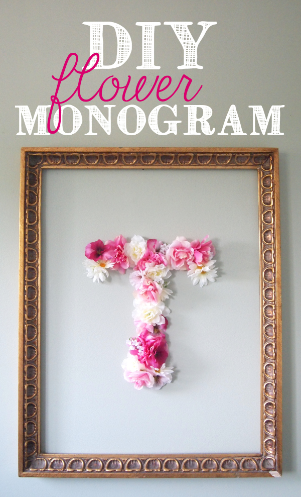 Diy faux flower monogram for Cadre floral mural