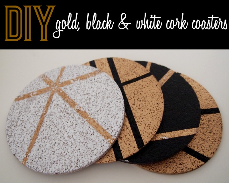 DIY gold black and white cork coasters DIY Gold, Black and White Cork Coasters