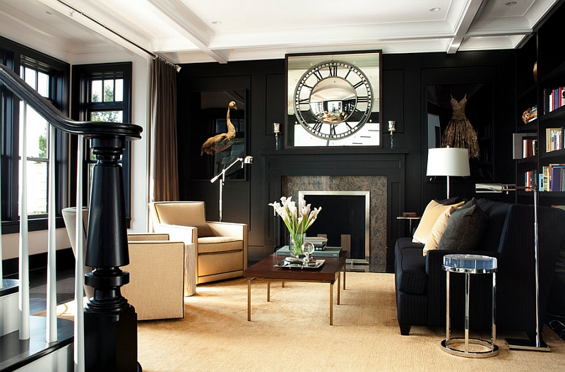 Dashing use of black in the living room creates a trendy focal point