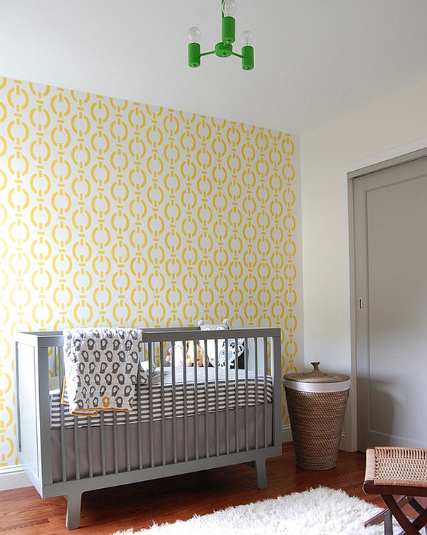 Dashing yellow wallpaper for the vintage modern boys' nursery