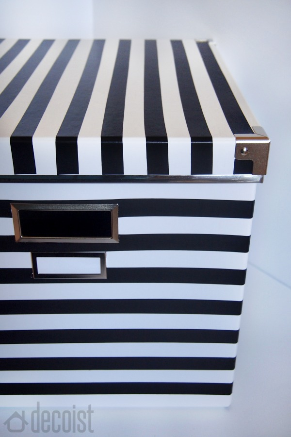Decoist project – Finished black and white striped box
