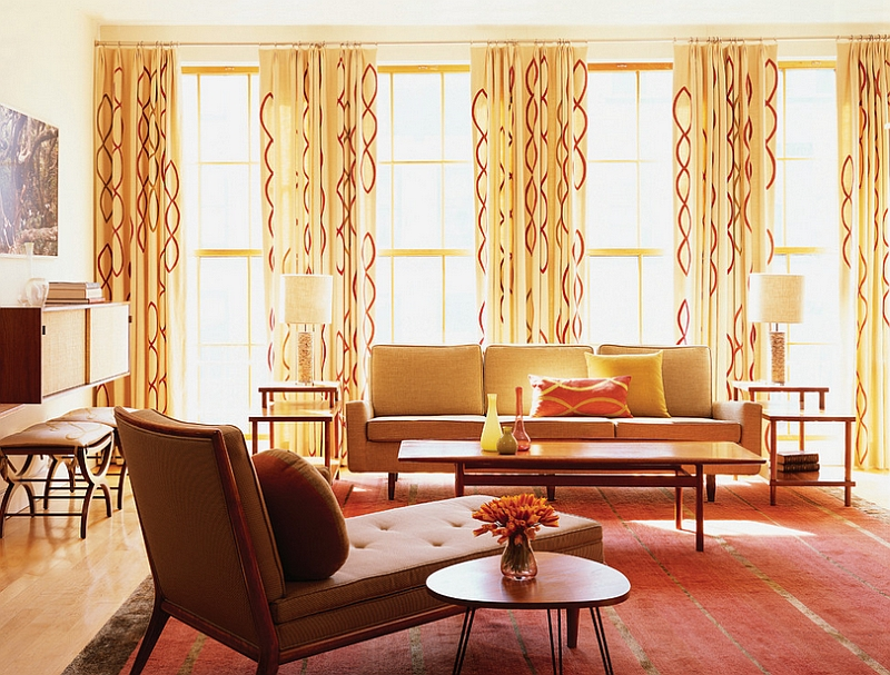 view in gallery decor with crisp clean lines and the patterned drapes give the room a midcentury modern