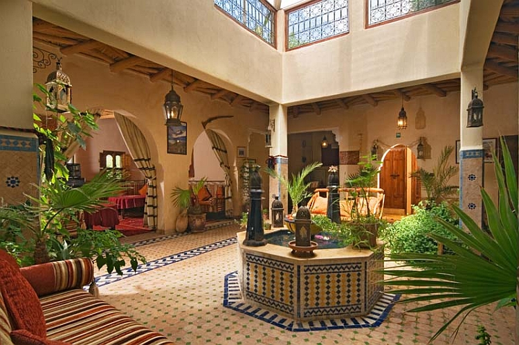 Dramatic indoor courtyard with distinct Moroccan design