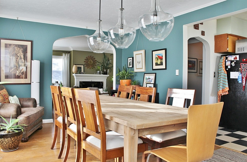 Eclectic dining room with a breezy combination of Caribbean Teal and white