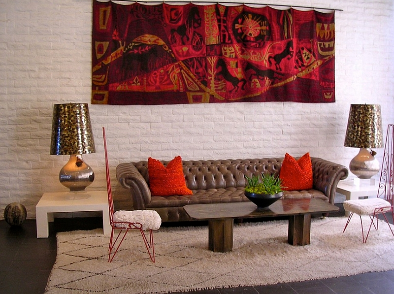 Eclectic living room with Moroccan accents and bright pops of color