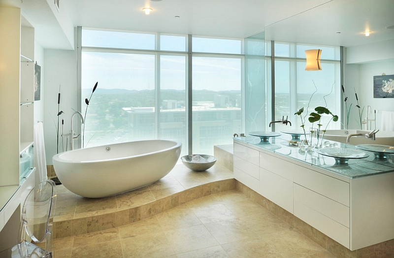 Elegant bathroom with a standalone tub in white