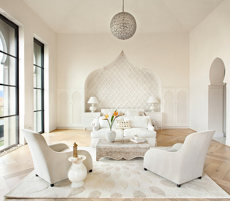 Elegant bedroom in white combines Mediterranean and Moroccan influences