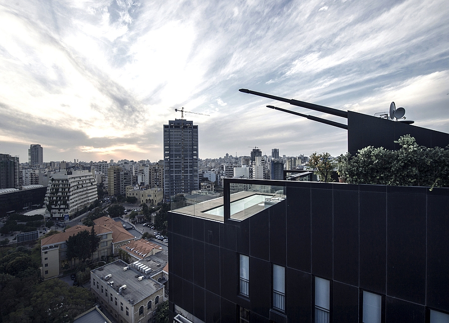 Exclusive facade of the Penthouse Residence stands out from the other stuctures in the city