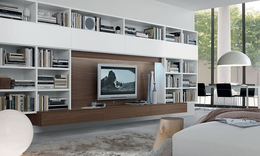 Exclusive wall unit with ample space for book storage and entertainment hub