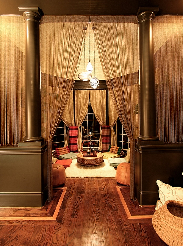 Exotic Living room with a Moroccan theme offers ample privacy