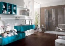 Refreshing And Posh Contemporary Bathroom Dazzles With Colorful Charm