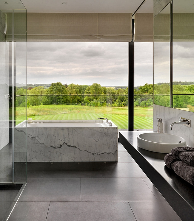 Exquisite bathroom with a stunning view of the landscape outside