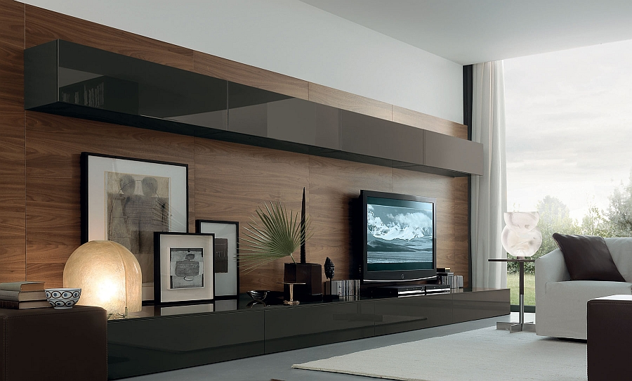 View In Gallery Exquisite Living Room Wall Unit System With Smart Features
