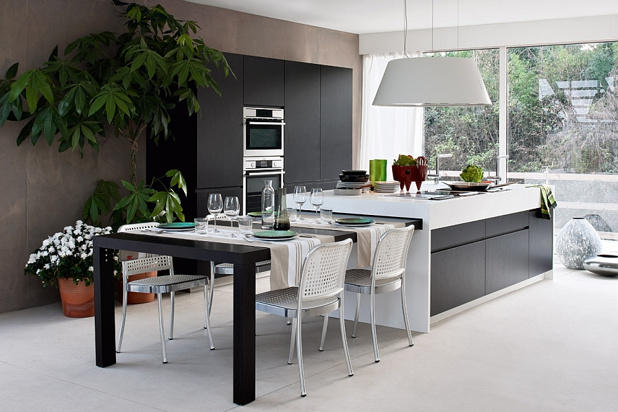 15 contemporary modular kitchen design solutions for Kitchen island dining table