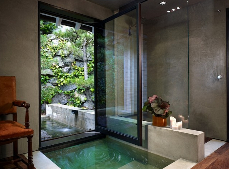 Fabulous contemporary bathroom that is connected with the natural landscape outside