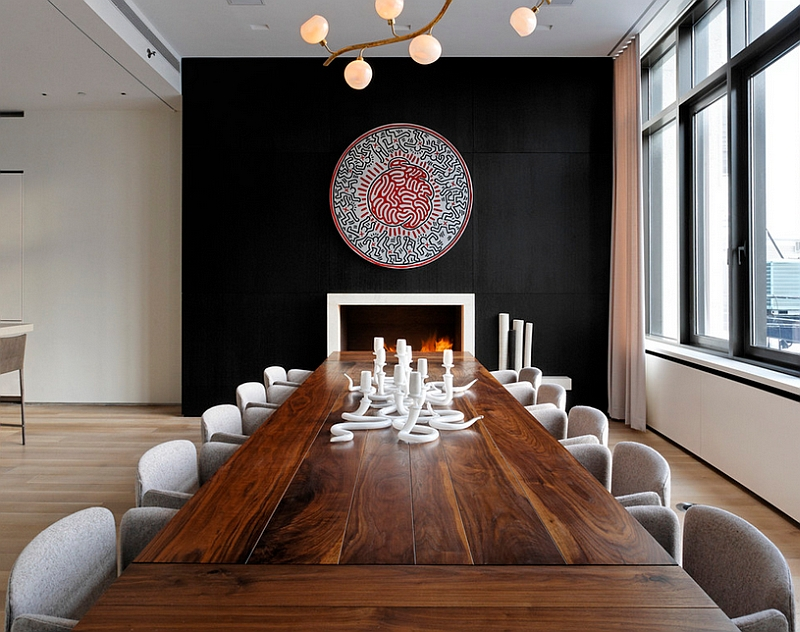 Fabulous dining area with a black backdrop and a touch of minimalism