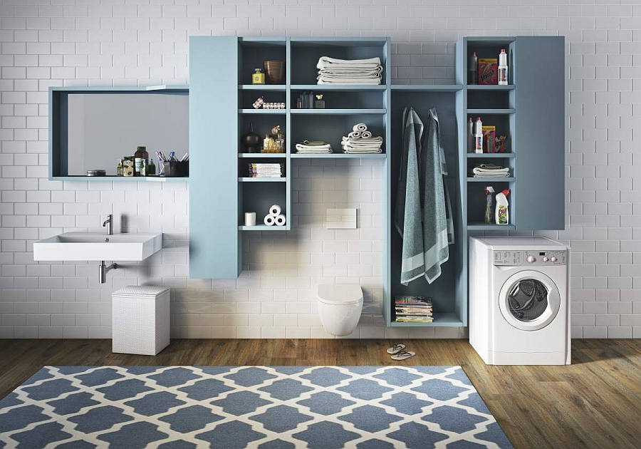Fabulous modular storage units offer design flexibility in the bath