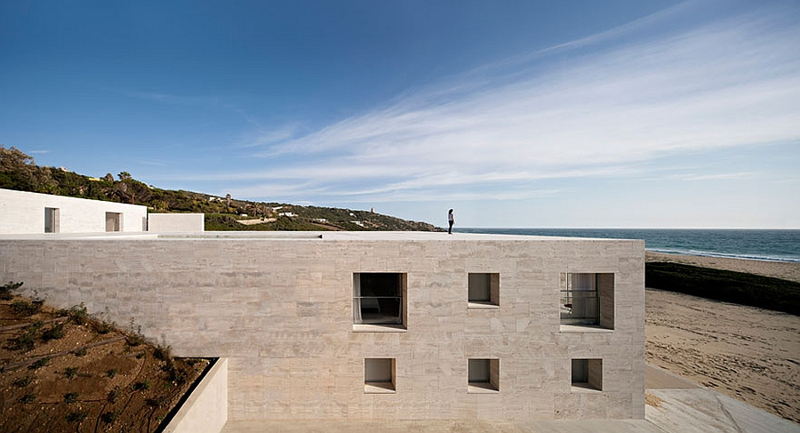 Facade of the House of the Infinite is built to withstand strong winds on the beach