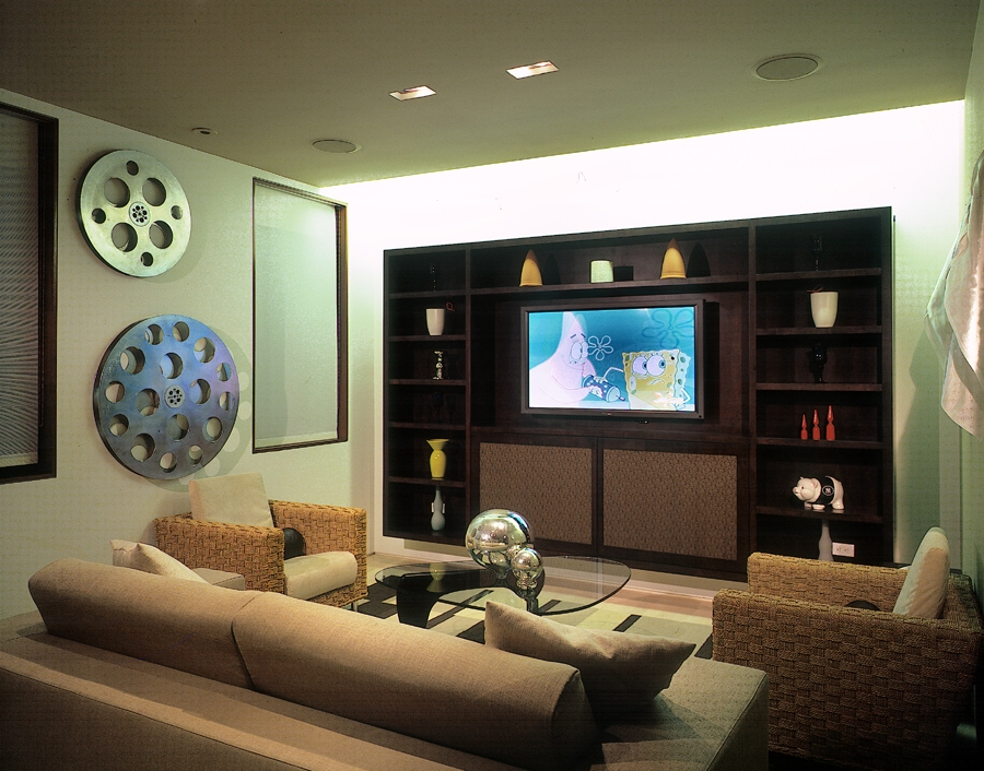 Family entertainment space with a trendy wall unit