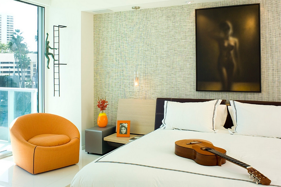 Fantastic use of color, texture and shade in the bedroom with a distinct masculine vibe