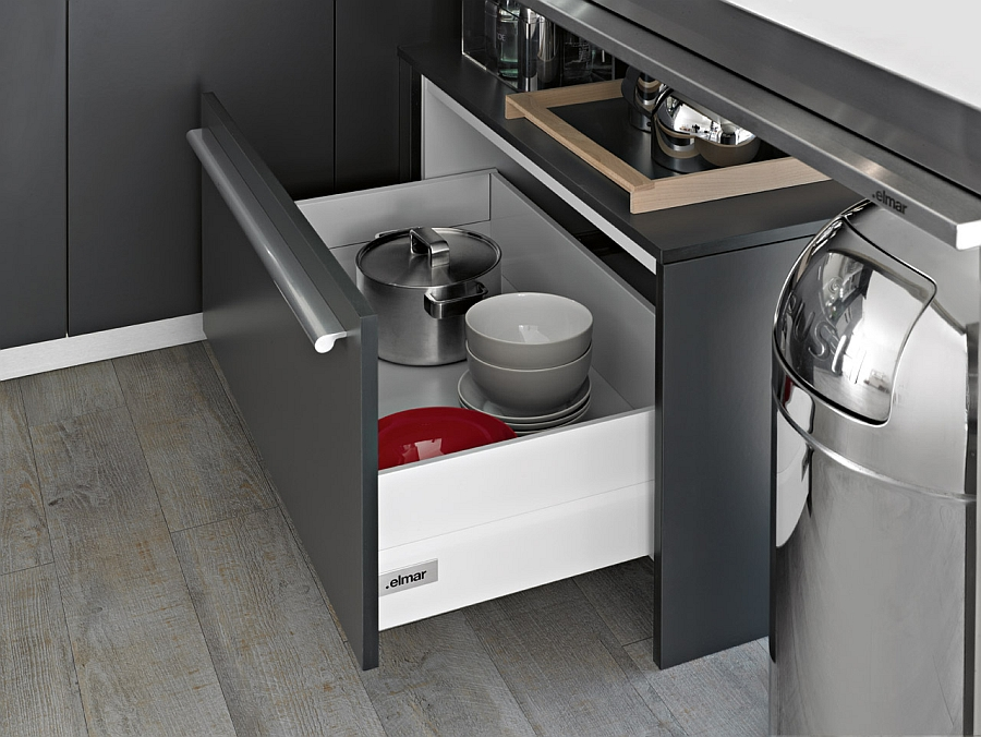 Fashionable kitchen shelves complement the uber-elegant look of the Playground kitchen