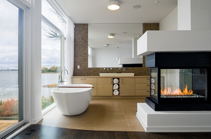 Fireplace in the bathroom is the hottest trend in interior design