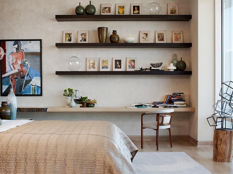 Floating shelves and a corner workstation in the bedroom