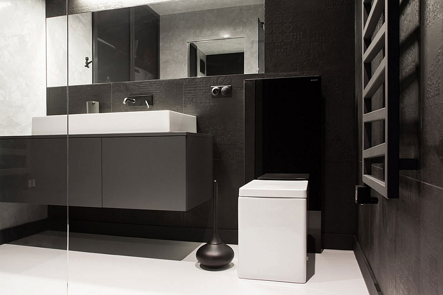 Floating vanity in grey and a sink in white paint a refined picture in the bath