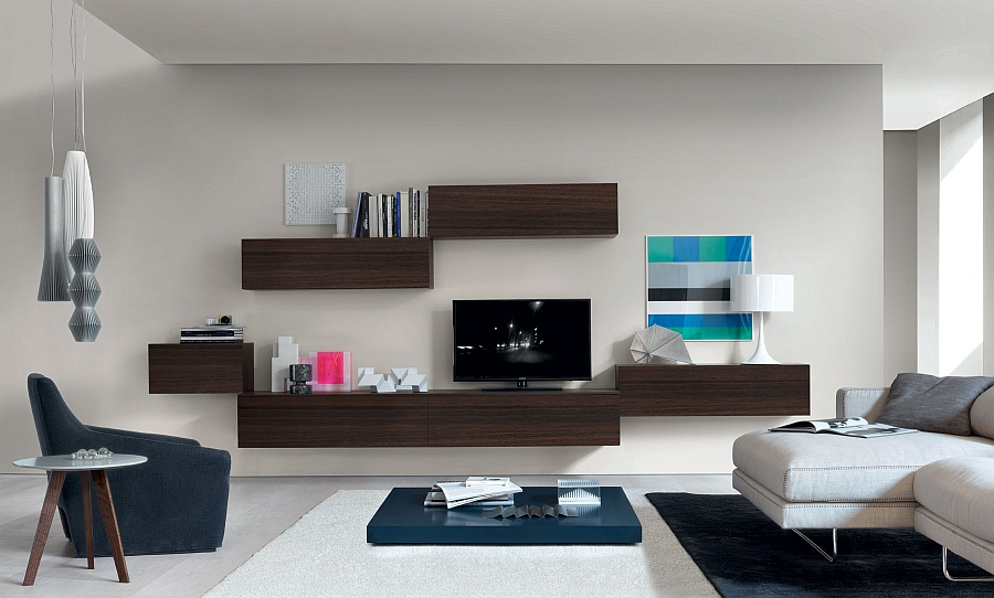 view in gallery floating wall units bring visual lightness to the small living room - Design Wall Units