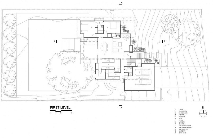 Floor plan for a beautiful modern house with a steel and glass frame