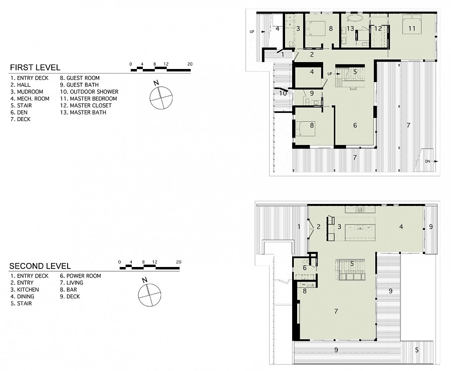 Floor plan of teh first and second levels of a renovated New York House