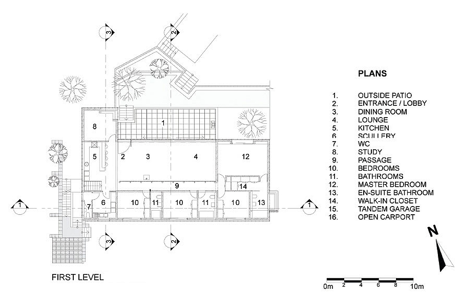 Floor plan of the reovated home with sustainable design and reused materials
