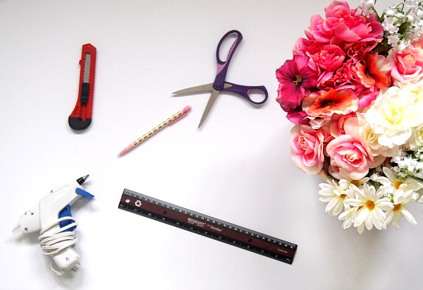 Materials needed for the Faux Flower Monogram