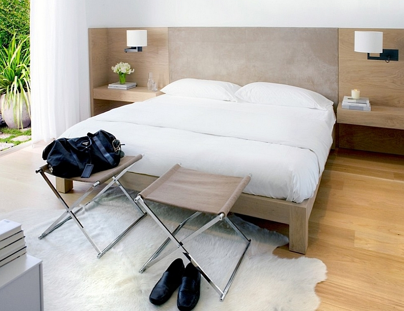Footstools give the bedroom a distinct masculine touch
