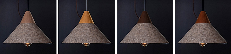 Four combinations of wood alongw ith the granite finish of the pendant