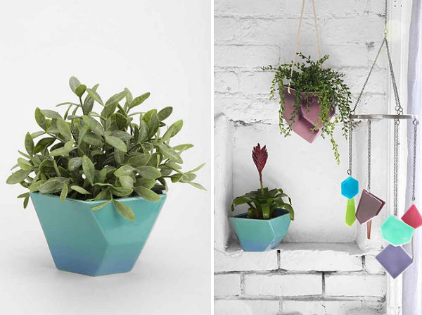Geo planter in shades of blue