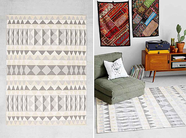 Geo rug in neutral hues