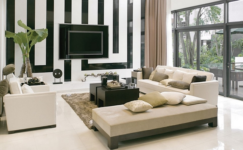 Refined Elegance Black Living Room Set View in gallery Geometric backdrop of the living room steals the show