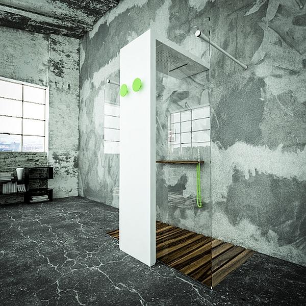 Geometrical shower space enhanced by the use of luxurious Teak wood floor