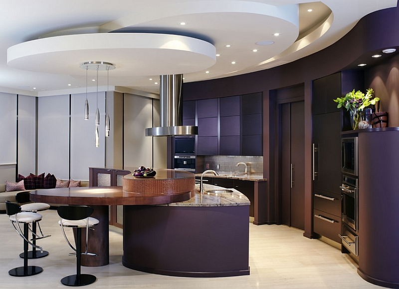 Give your contemporary kitchen a touch of finesse with eggplant walls