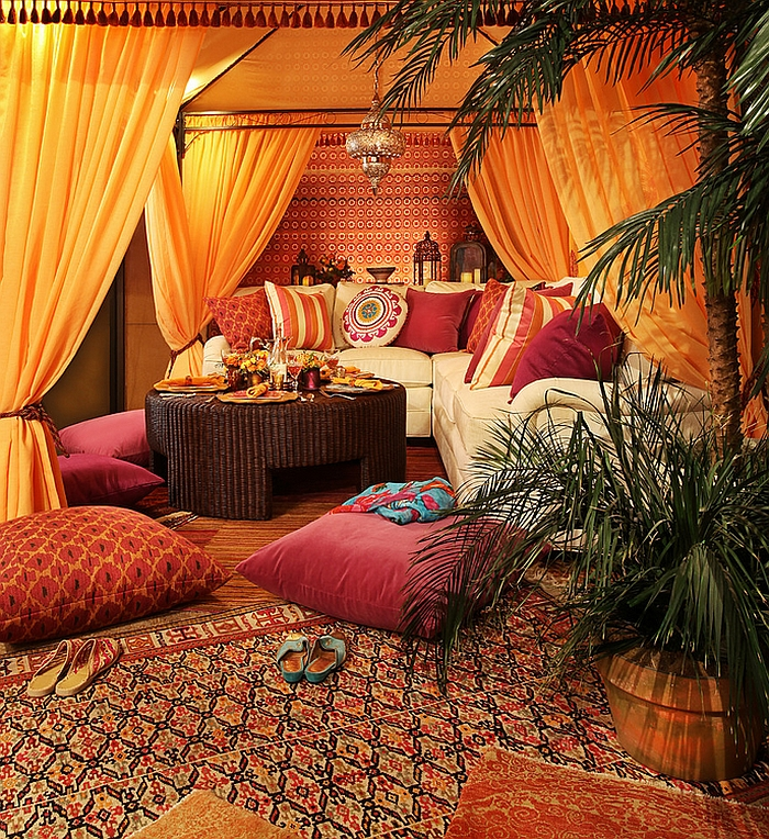 authentic moroccan look with rugs floor pillows and moroccan prints