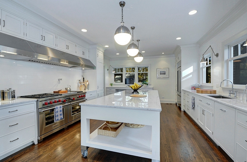 Giving the industrial idea of kitchen islands on wheels a beautiful, modern makeover