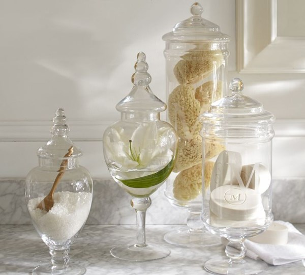 Glass apothecary jars for the powder room