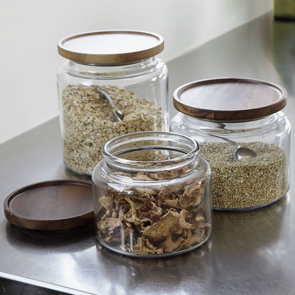 Glass jars with acacia wood lids
