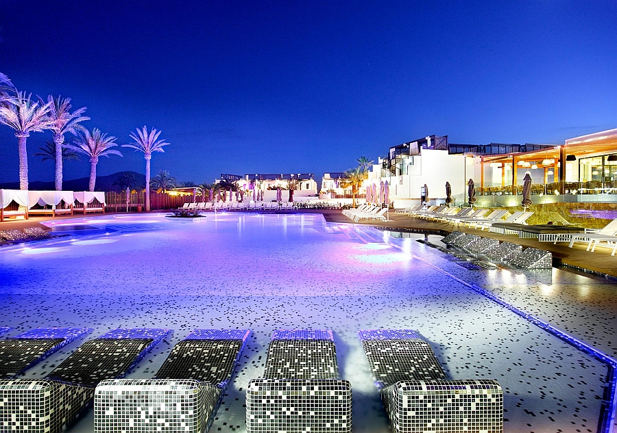 Goregous Eden pool area illuminated at night - Hard Rock Hotel Ibiza