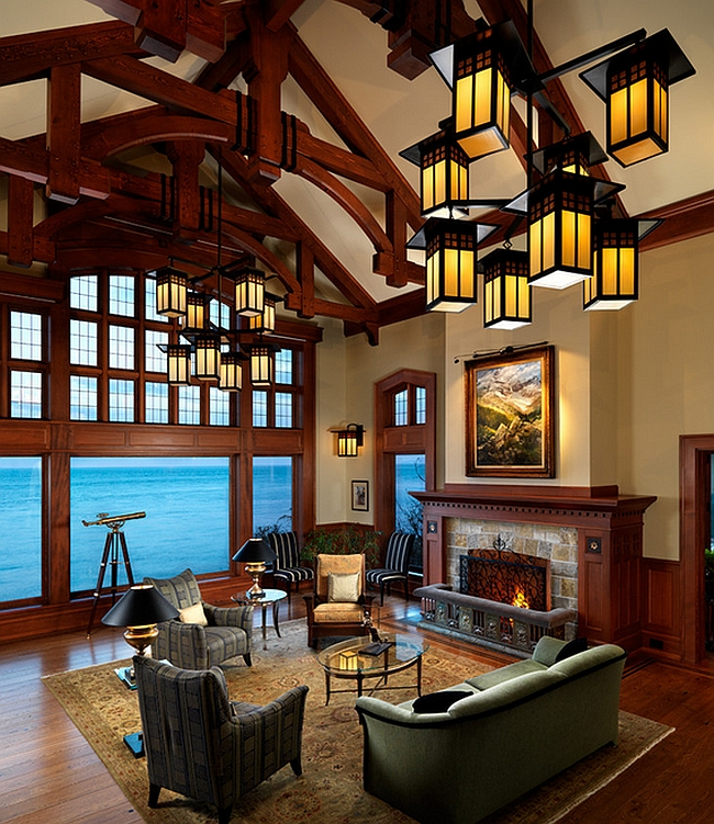Goregous lantern-style lighting adds to the appeal of the opulent living room